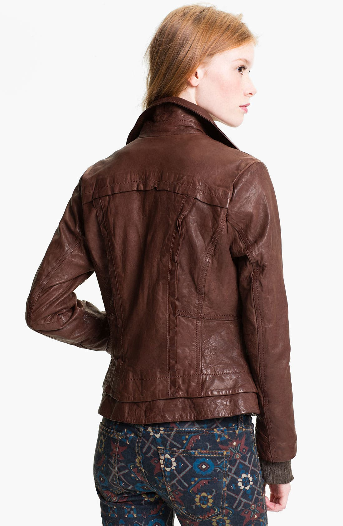 Alternate Image 2  - Bernardo Knit Cuff Leather Jacket