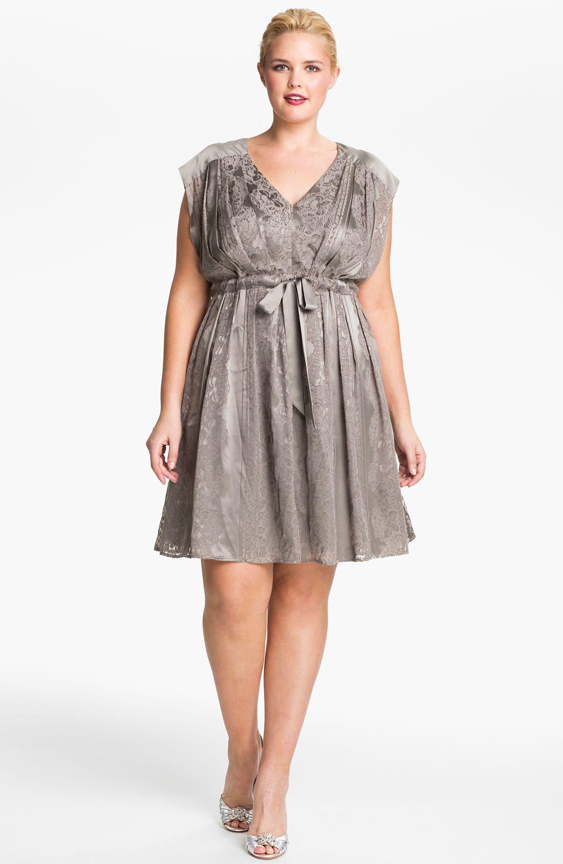 Alternate Image 1 Selected - Jessica Simpson Lace Print Satin Dress (Plus)