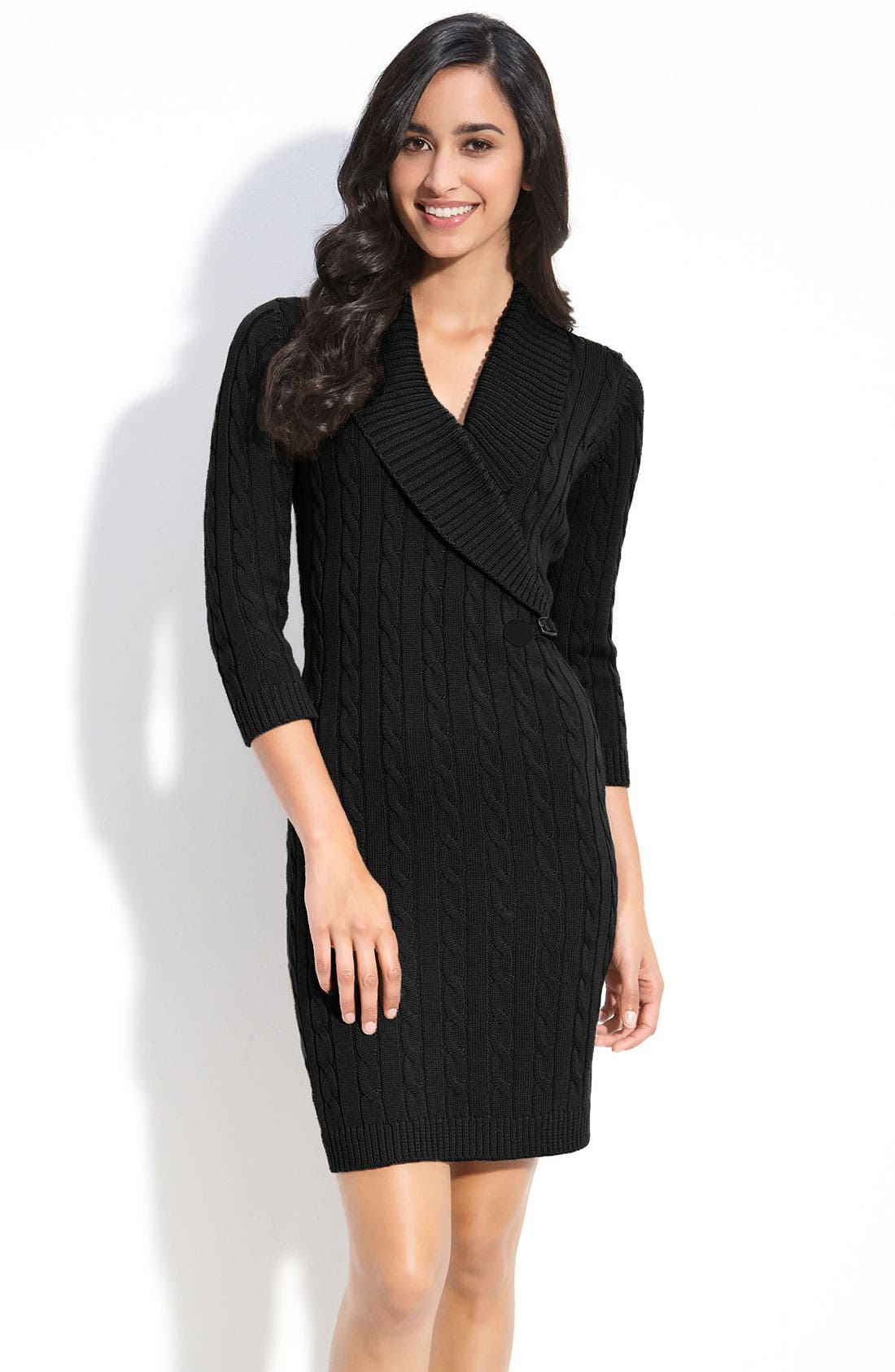 Alternate Image 1 Selected - Calvin Klein Faux Wrap Sweater Dress