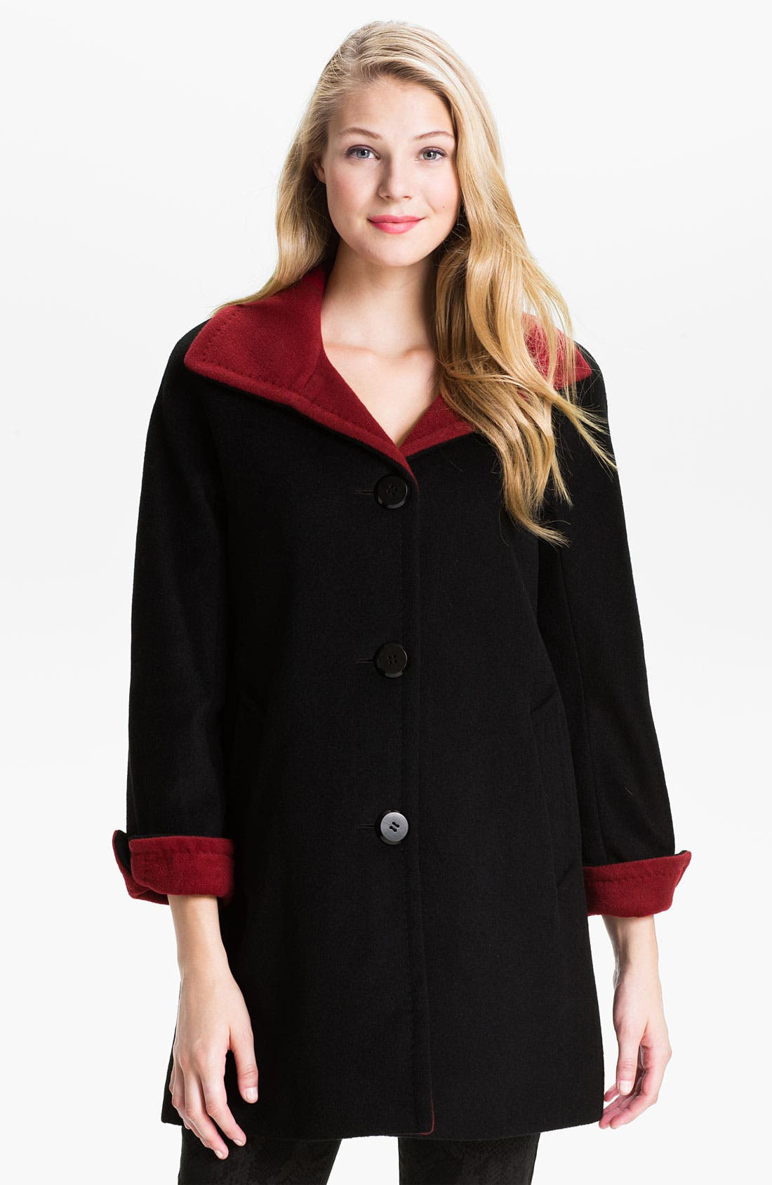 Alternate Image 1 Selected - Ellen Tracy Two Tone Coat (Online Exclusive)