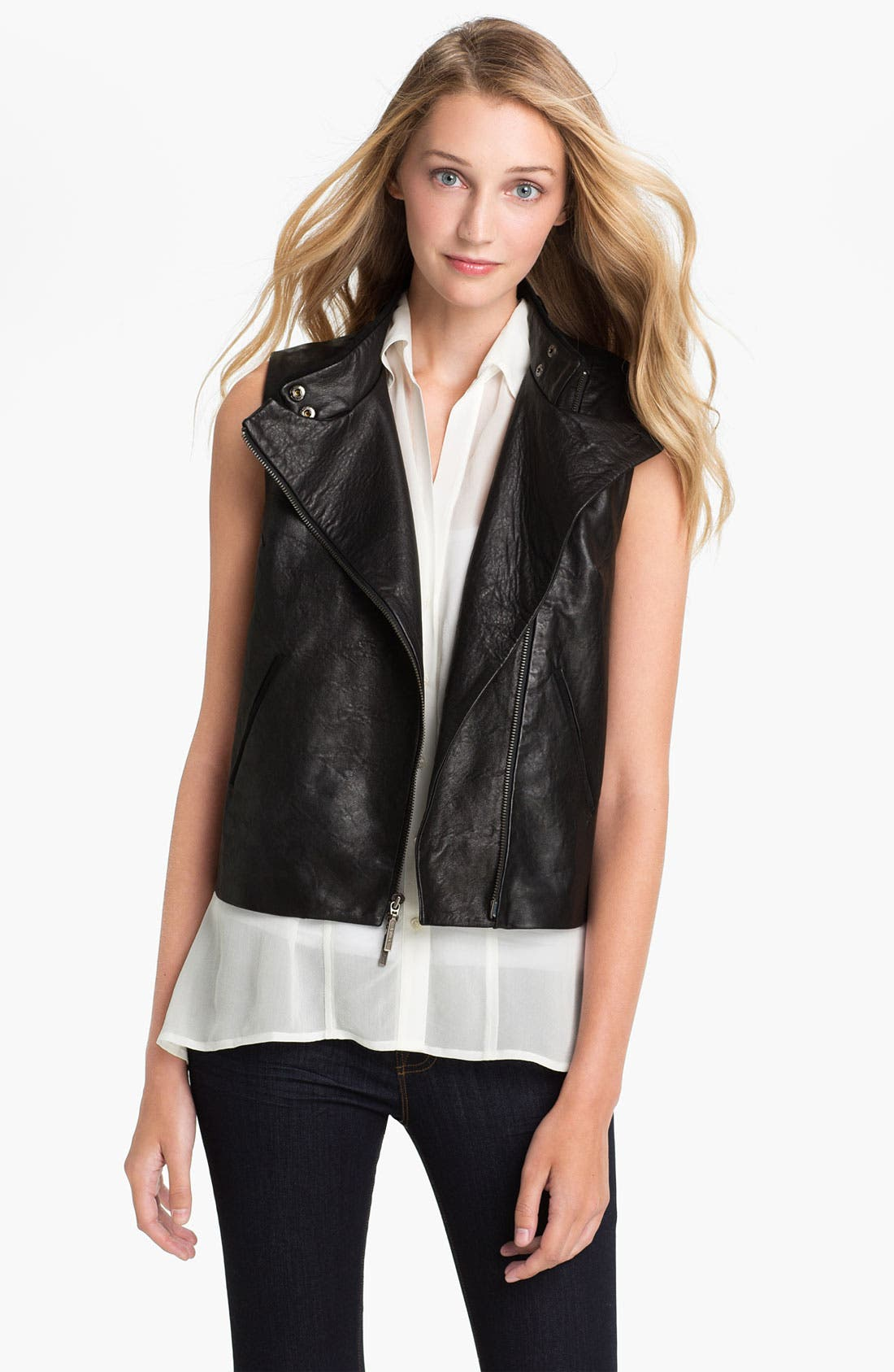 Main Image - Two by Vince Camuto Zip Back Leather Vest