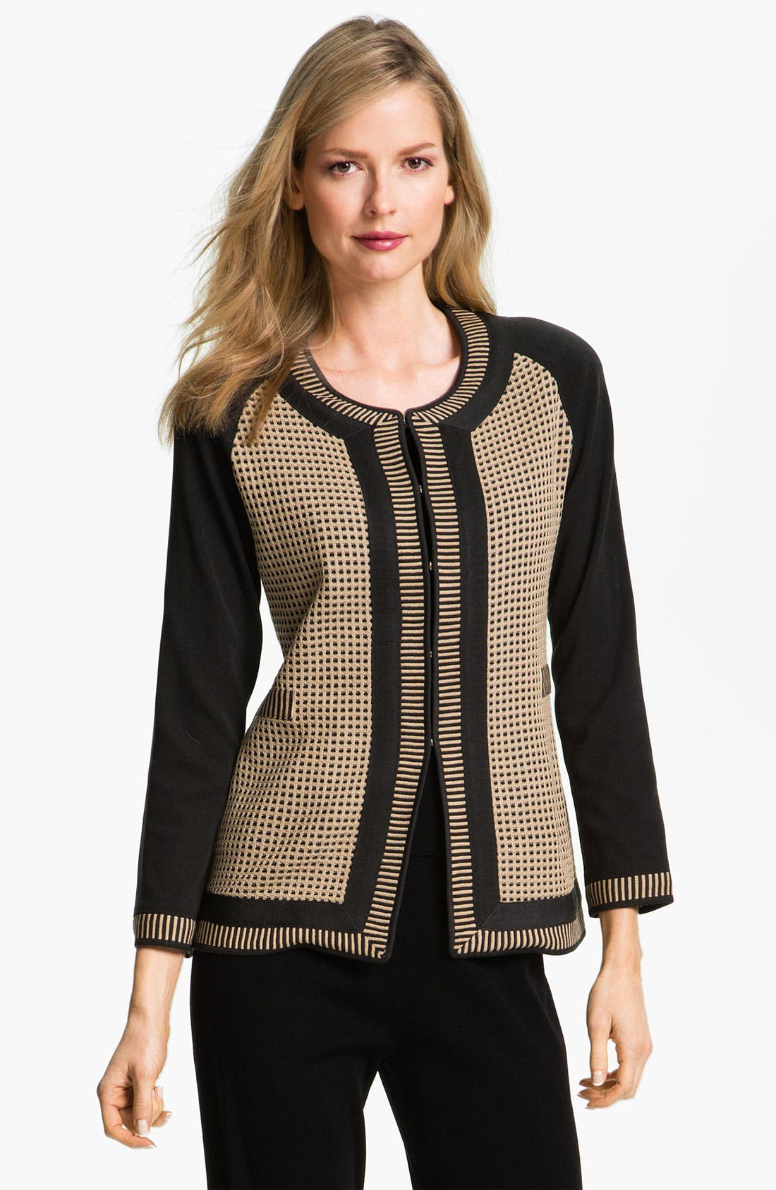 Main Image - Exclusively Misook Grid Pattern Jacket