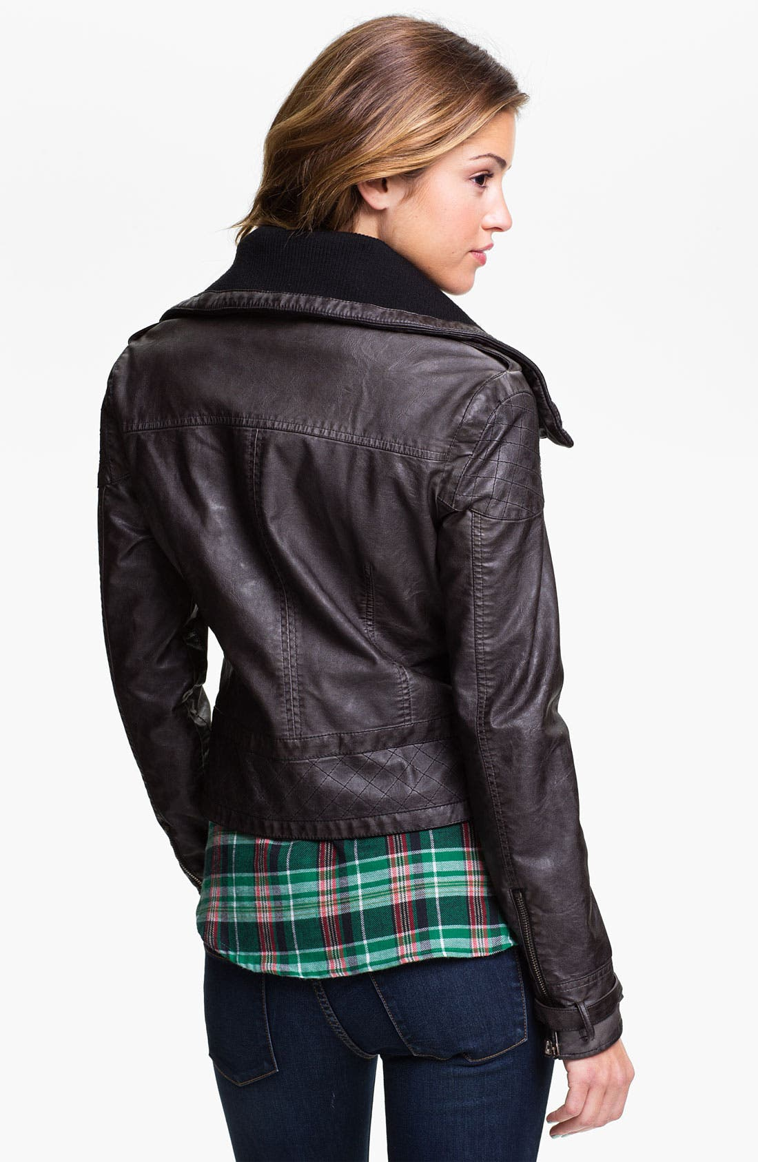 Alternate Image 2  - Jou Jou Knit Collar Moto Jacket (Juniors)