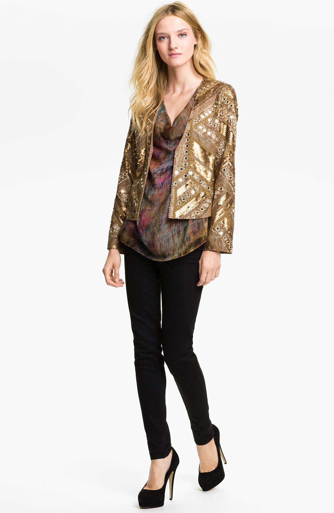 Alternate Image 4  - Haute Hippie Embellished Silk Jacket