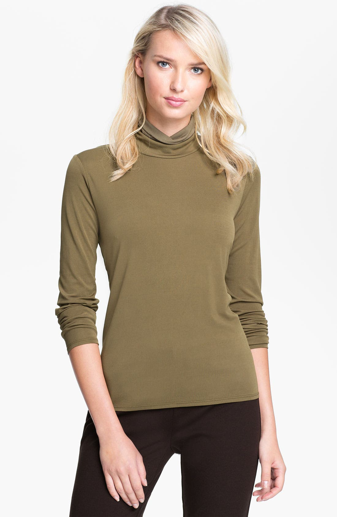 Alternate Image 1 Selected - Eileen Fisher Scrunch Neck Silk Top