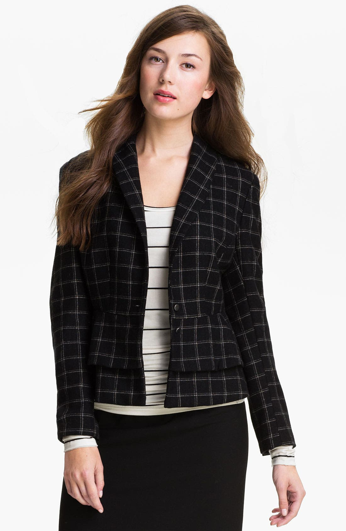 Main Image - Max & Mia Plaid Peplum Jacket