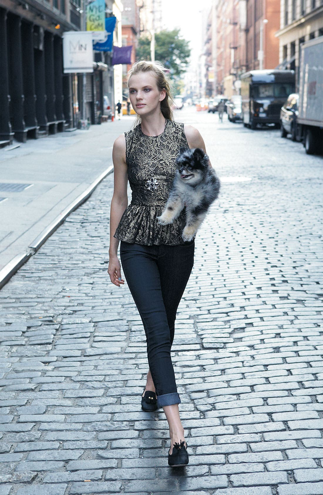Alternate Image 4  - Vince Camuto Metallic Lace Peplum Top