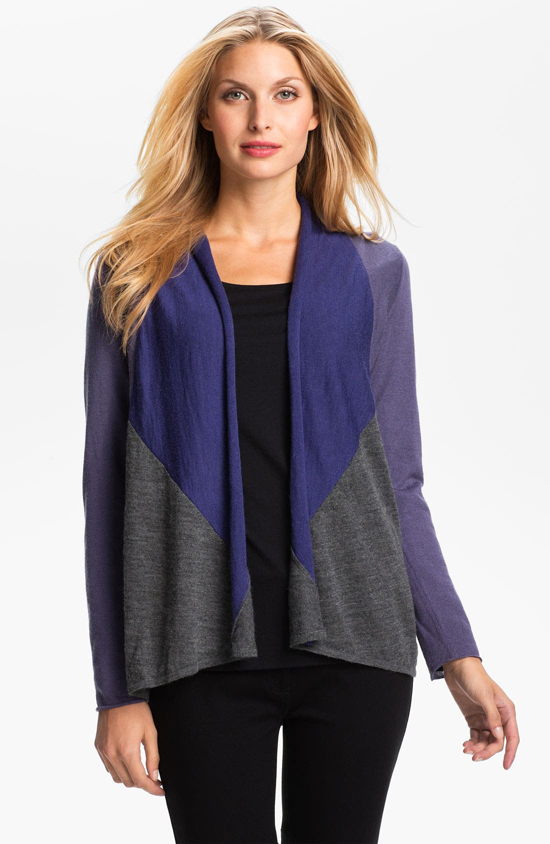Alternate Image 1 Selected - Eileen Fisher Colorblock Alpaca Cardigan (Petite)