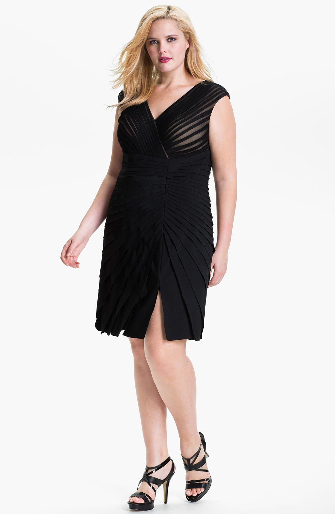 Alternate Image 1 Selected - Adrianna Papell Pleated Cap Sleeve Sheath Dress (Plus)