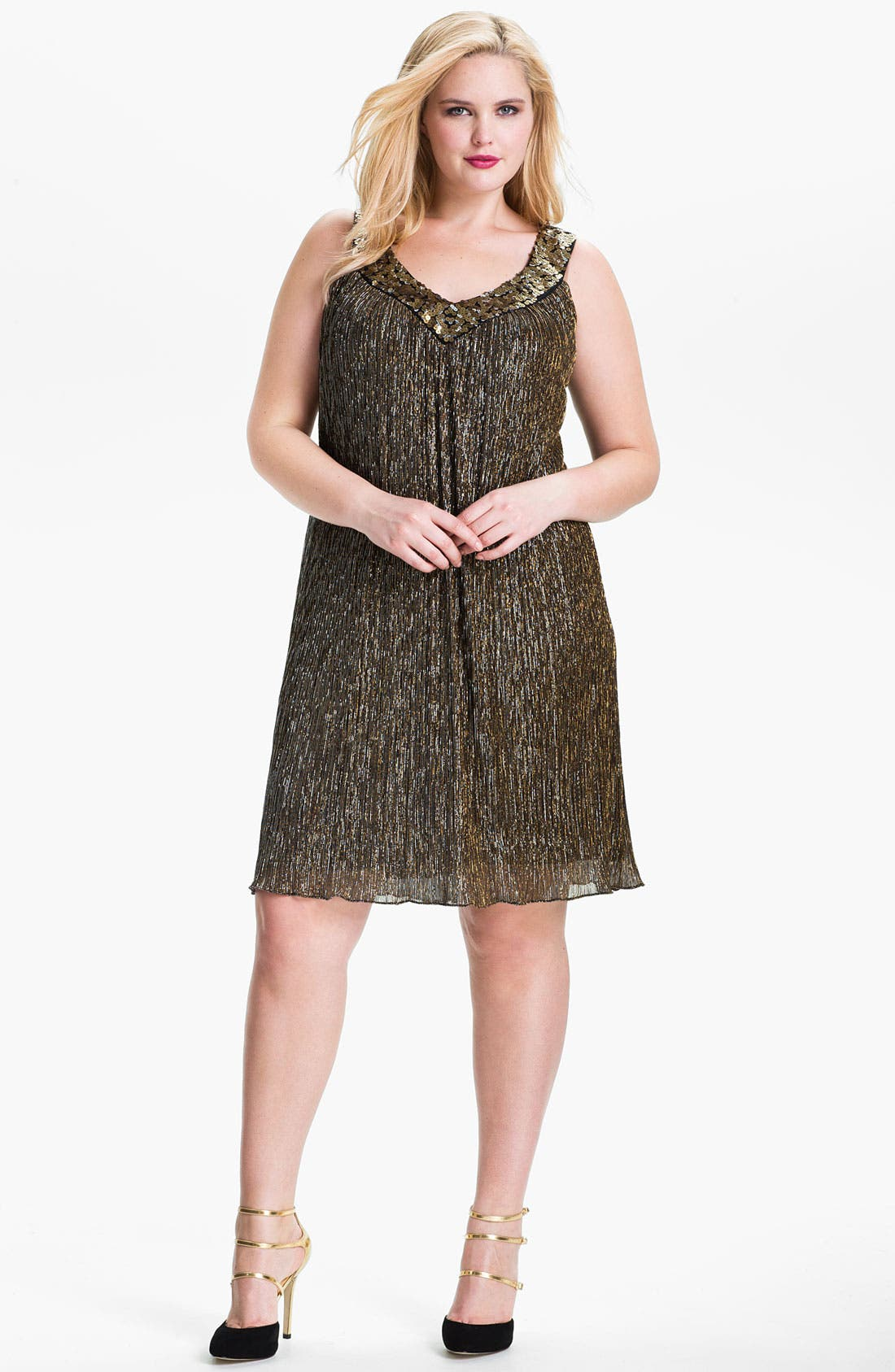 Alternate Image 1 Selected - Donna Ricco Sequin Metallic Trapeze Dress (Plus Size)