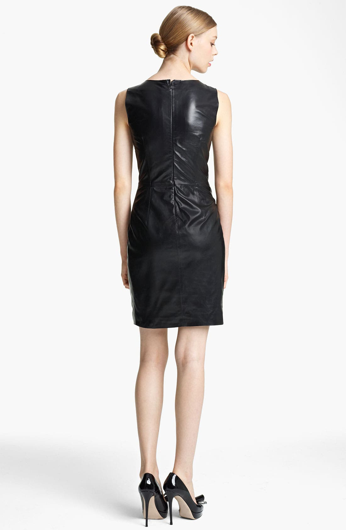 Alternate Image 2  - Valentino Lace & Leather Sheath Dress