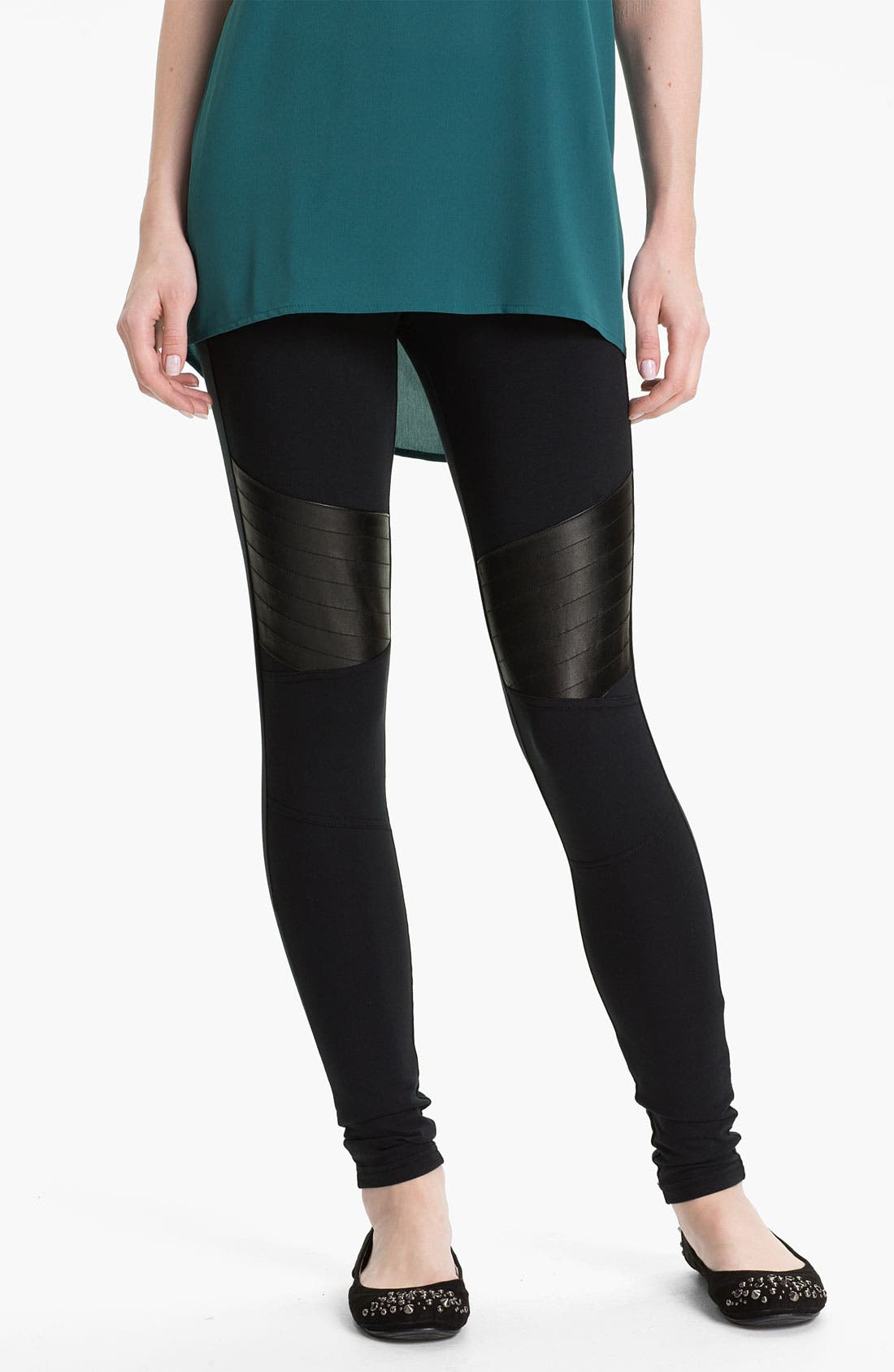 Alternate Image 1 Selected - BP. 'Motorbike' Faux Leather Panel Leggings (Juniors)