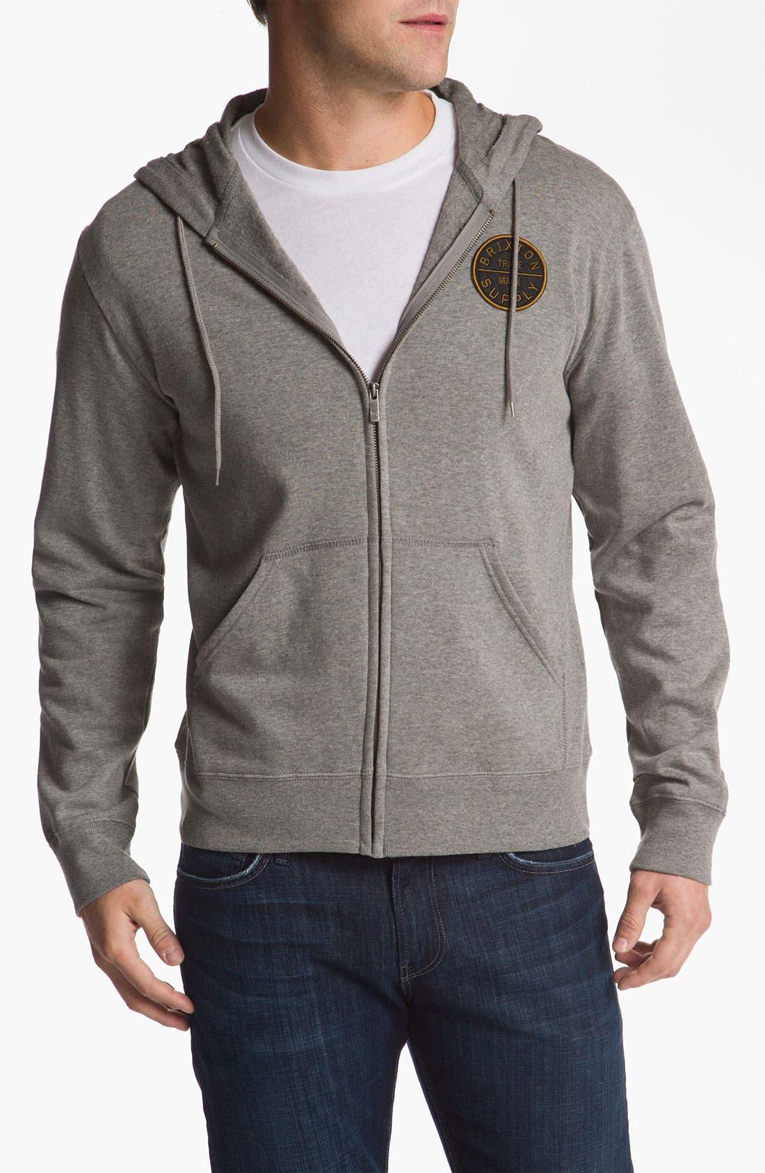 Alternate Image 1 Selected - Brixton 'Civil' Hooded Zip Front Sweatshirt