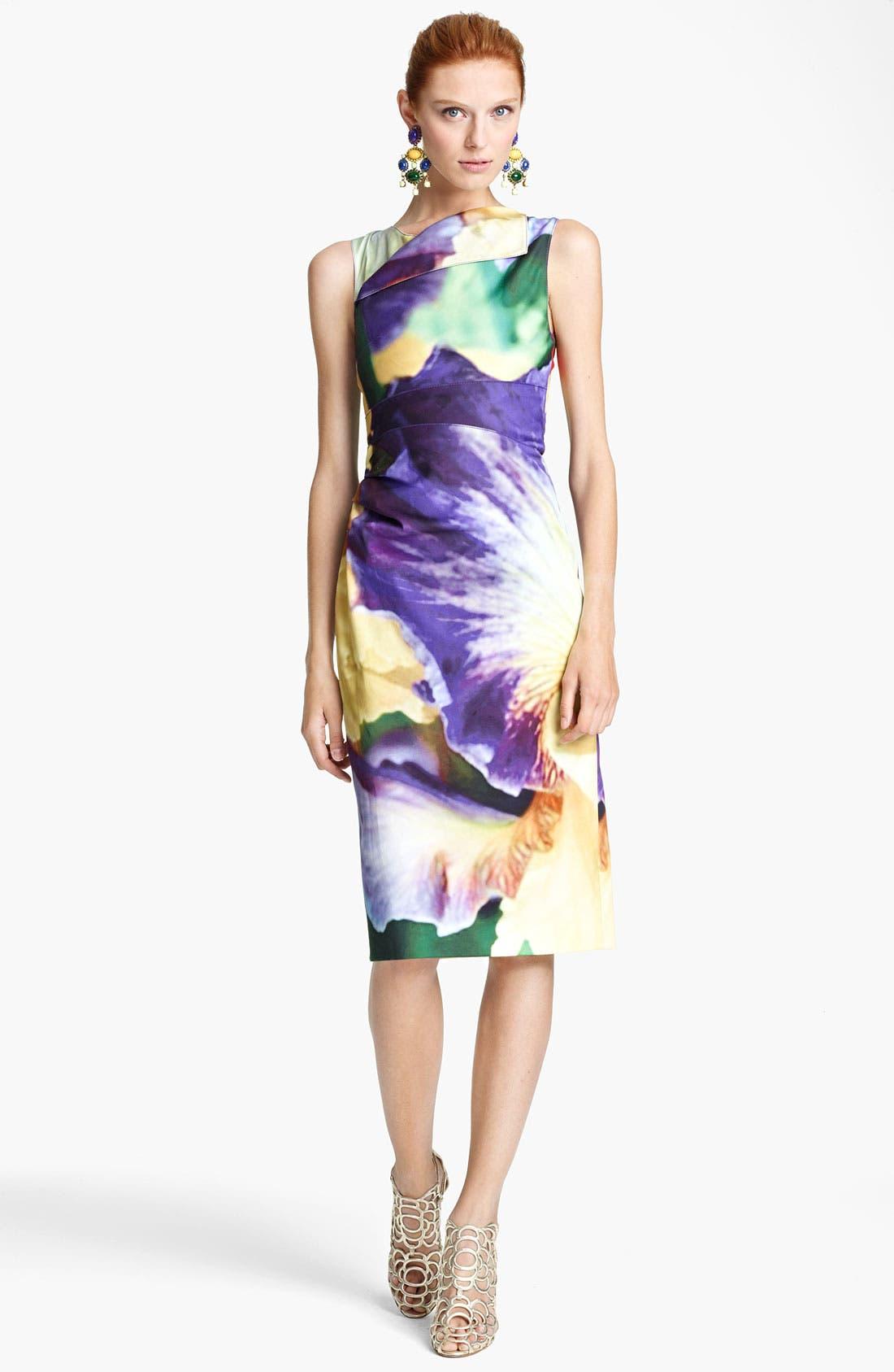 Alternate Image 1 Selected - Oscar de la Renta Iris Print Sheath Dress