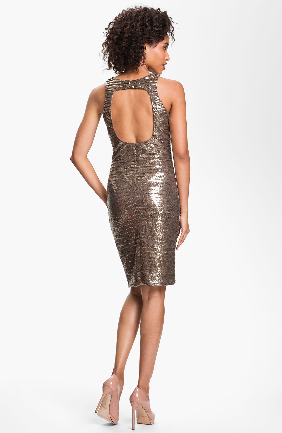Alternate Image 2  - Betsy & Adam Back Cutout Metallic Sequin Dress