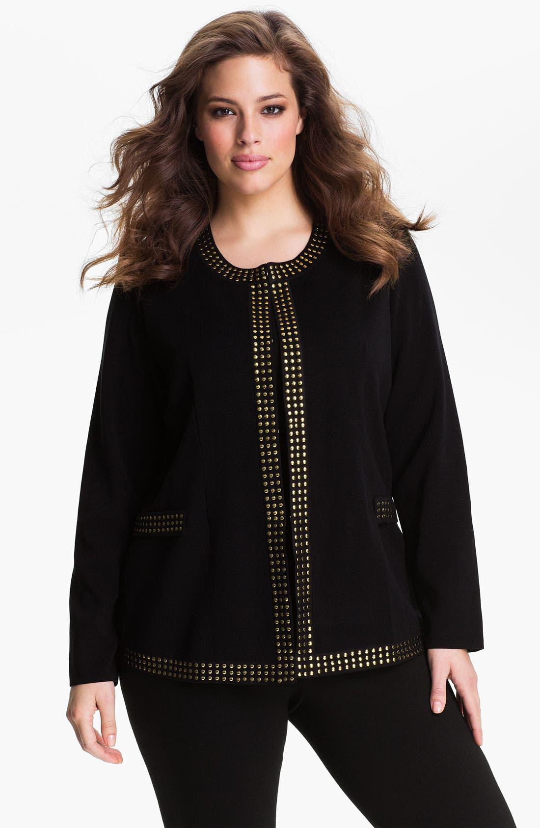 Alternate Image 1 Selected - Exclusively Misook Studded Jewel Neck Jacket (Plus)