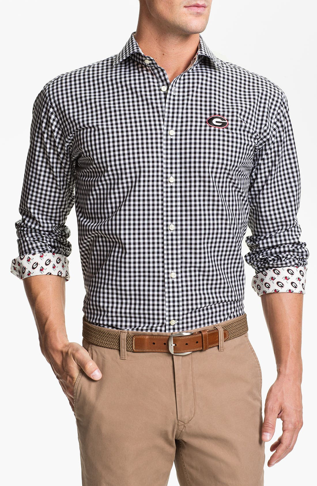 Alternate Image 1 Selected - Thomas Dean 'University of Georgia' Gingham Sport Shirt