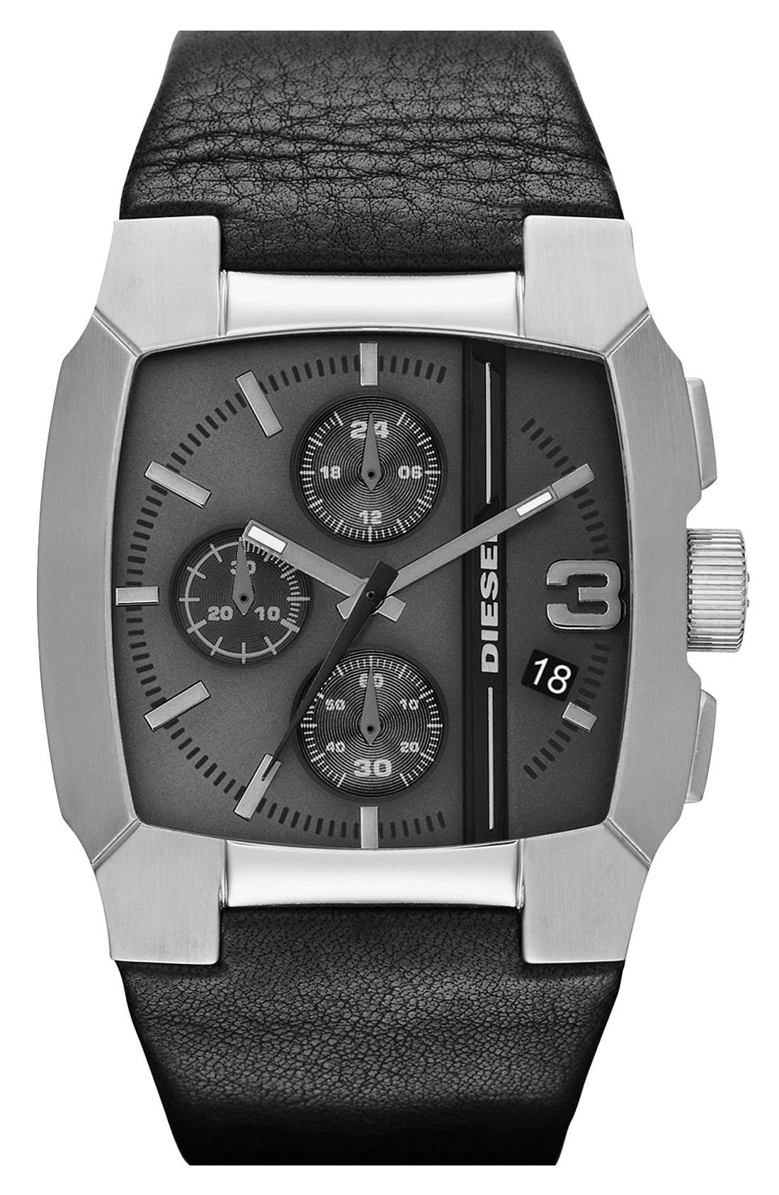 Main Image - DIESEL® Square Leather Strap Watch, 47mm x 40mm