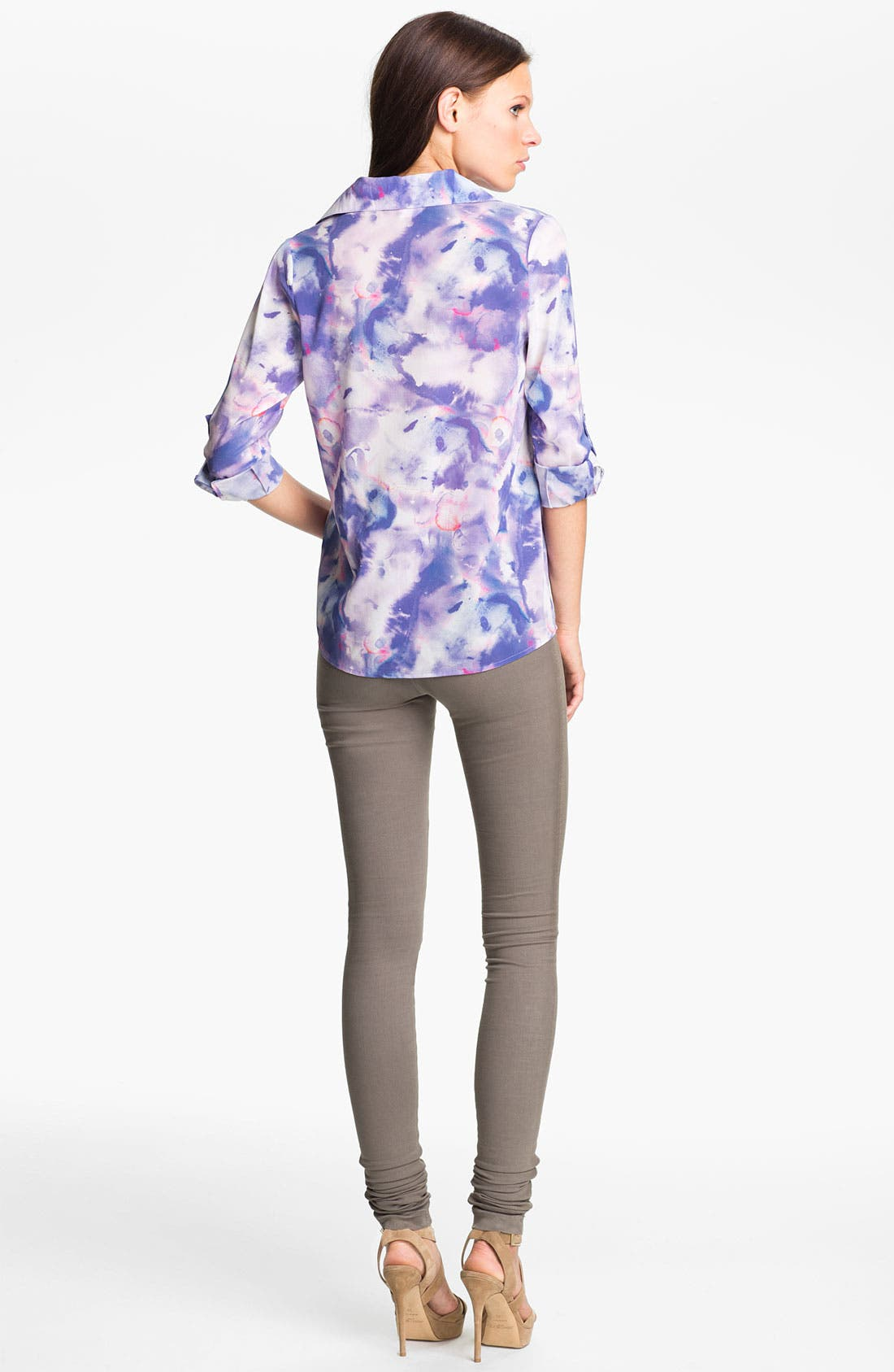 Alternate Image 2  - Alice + Olivia 'Juliette' Tie Dye Stretch Silk Shirt