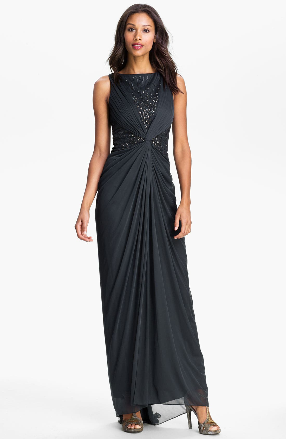 Alternate Image 1 Selected - Adrianna Papell Embellished Twist Front Open Back Gown
