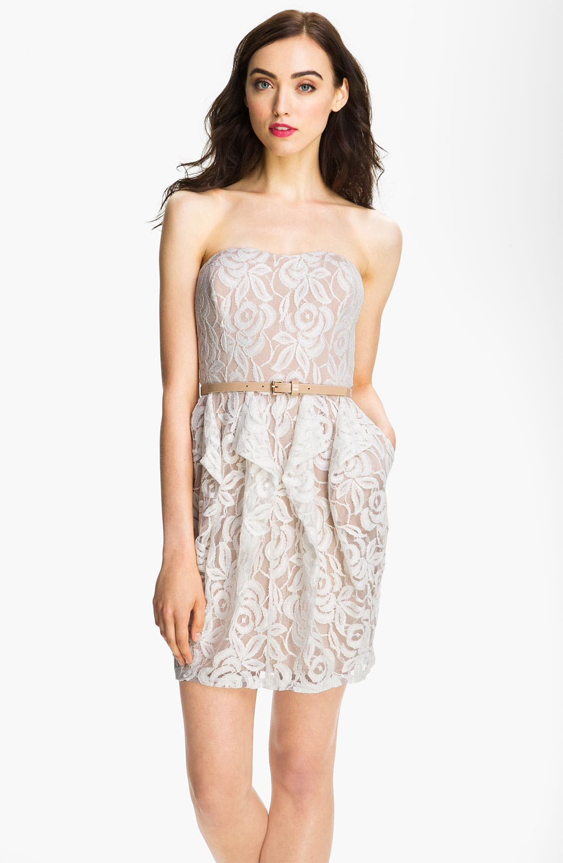Alternate Image 1 Selected - Jessica Simpson Belted Strapless Lace Dress