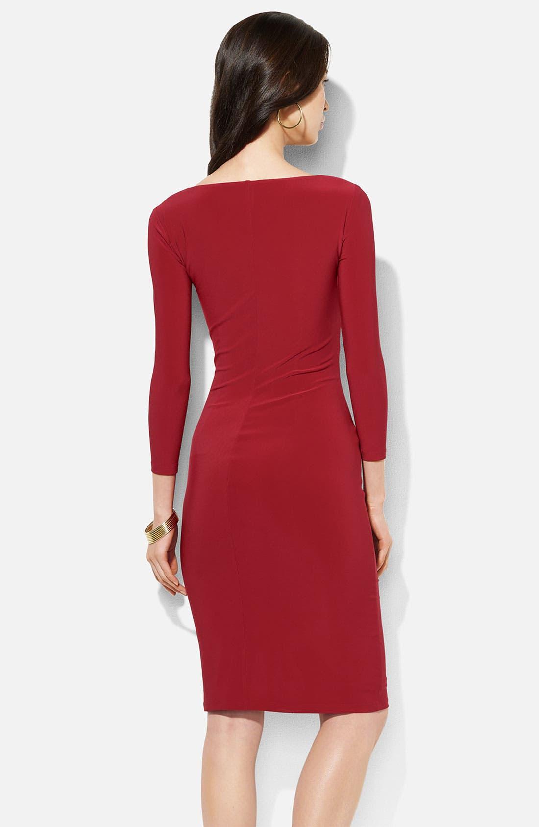 Alternate Image 2  - Lauren Ralph Lauren Surplice Jersey Sheath Dress