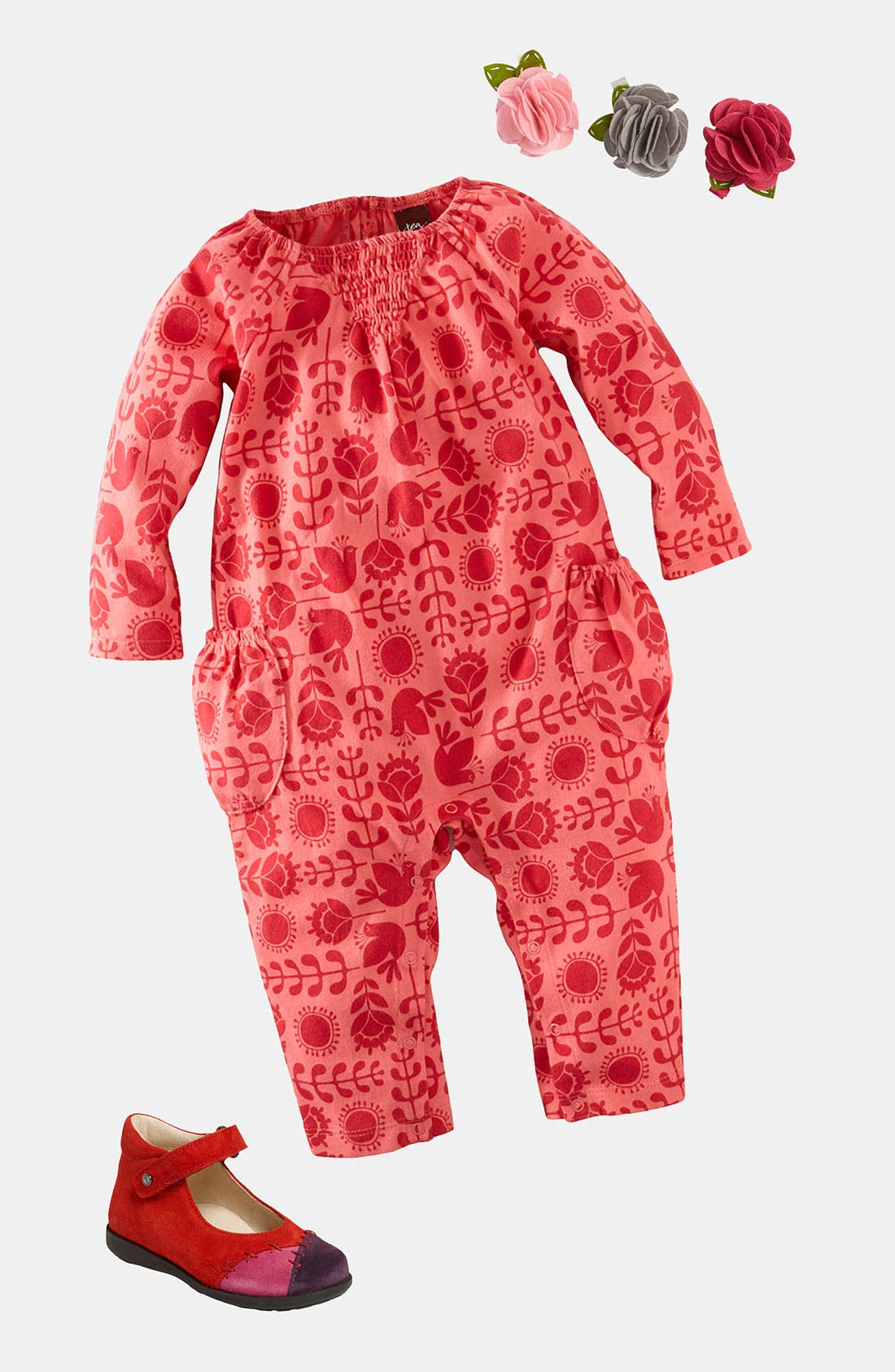 Main Image - Tea Collection Coveralls & PLH Bows & Laces Hair Clips (Infant)