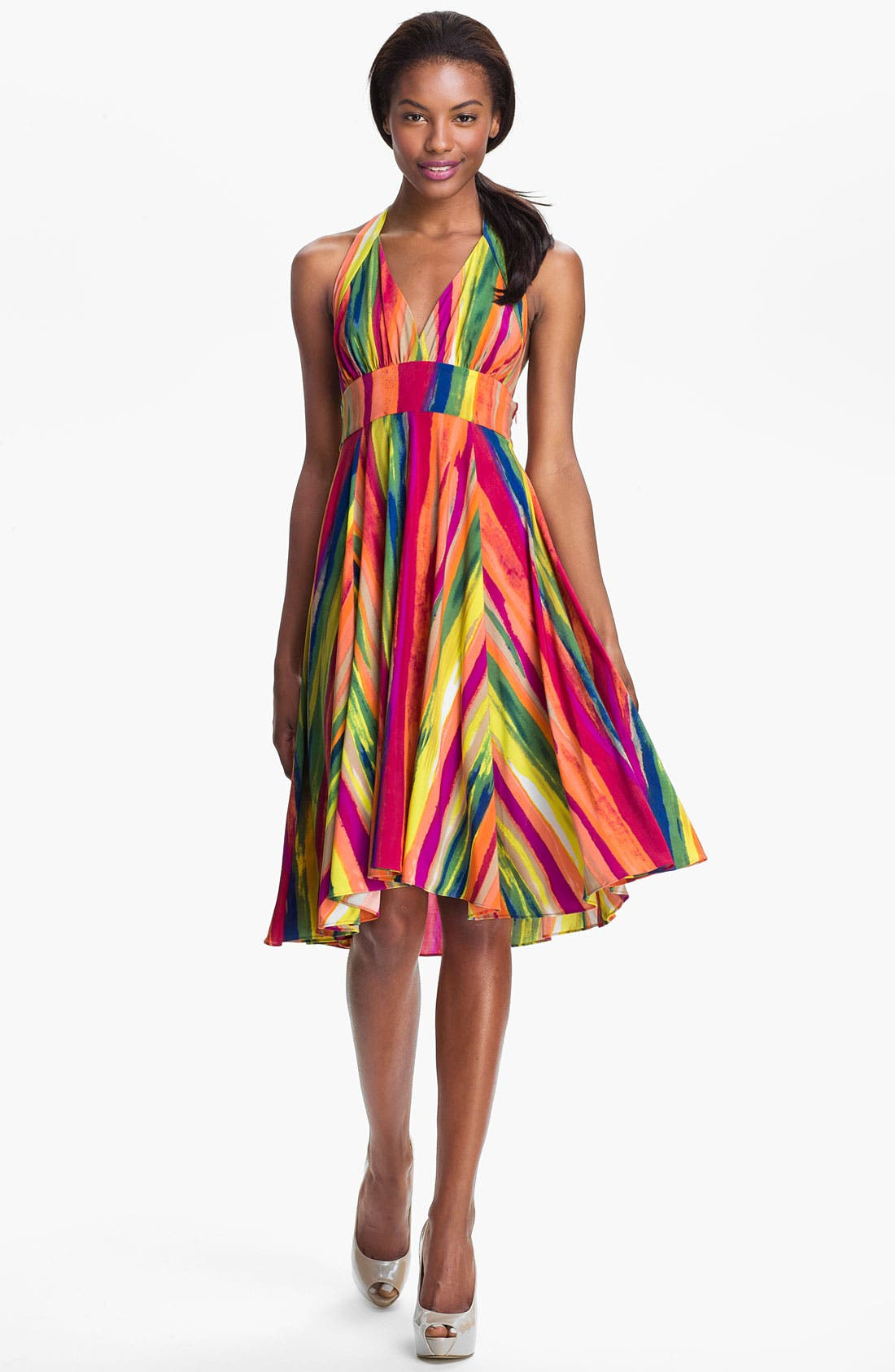 Main Image - Abi Ferrin 'Gloria' Print Jersey Fit & Flare Halter Dress