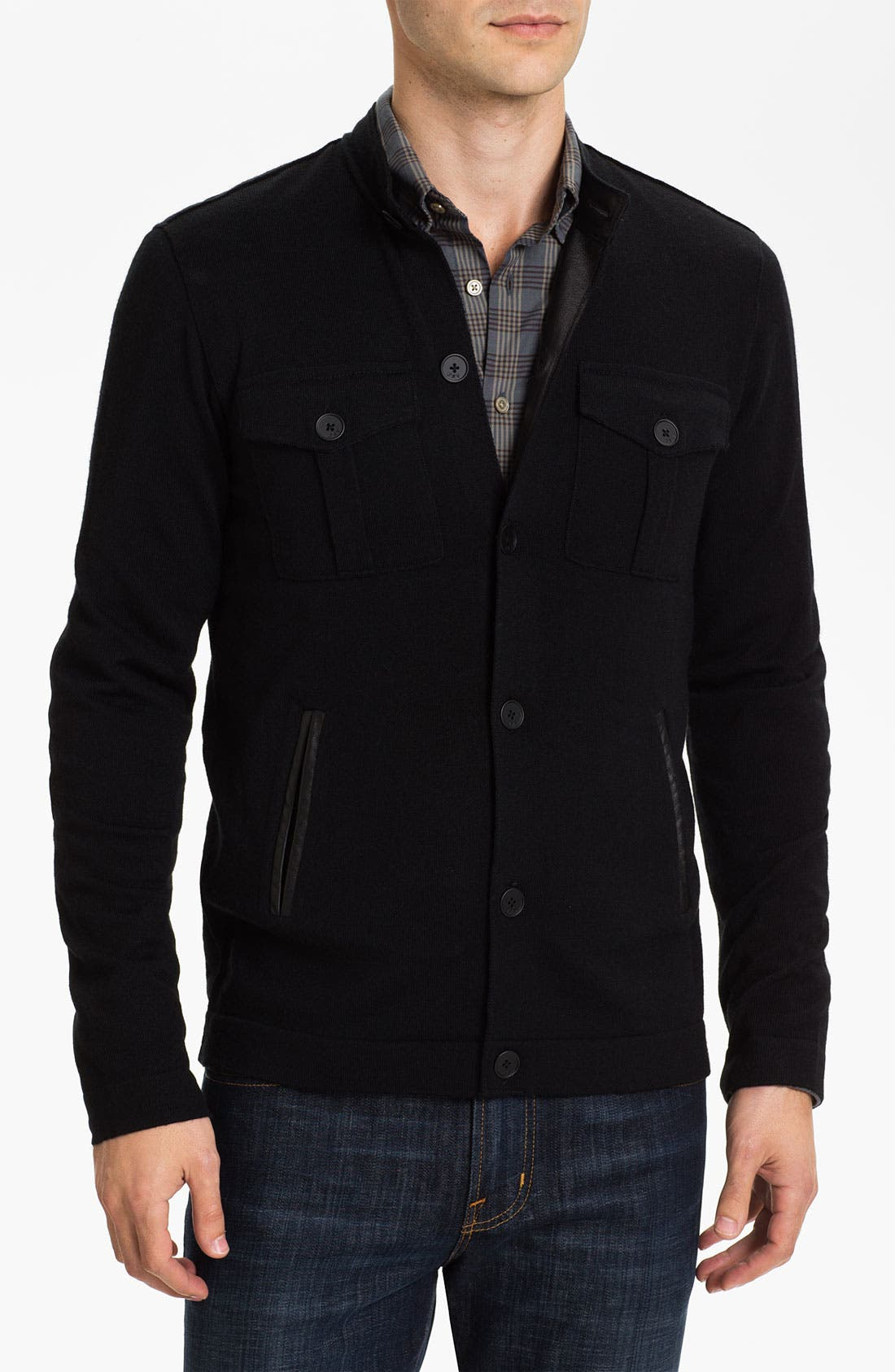 Main Image - John Varvatos Star USA Merino Wool Blend Button Cardigan