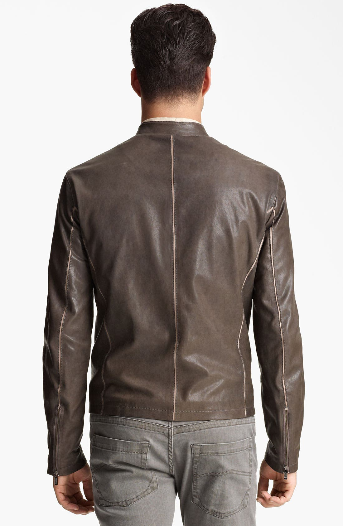 Alternate Image 2  - Armani Collezioni Leather Jacket