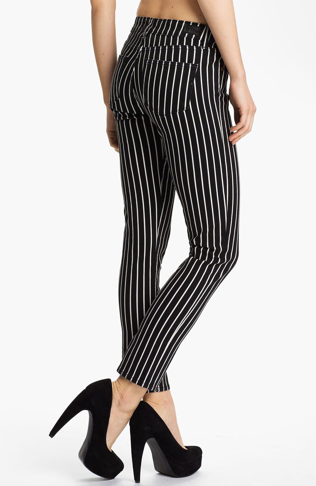 Alternate Image 2  - Paige Denim 'Skyline' Skinny Stretch Ankle Jeans (Black/White)
