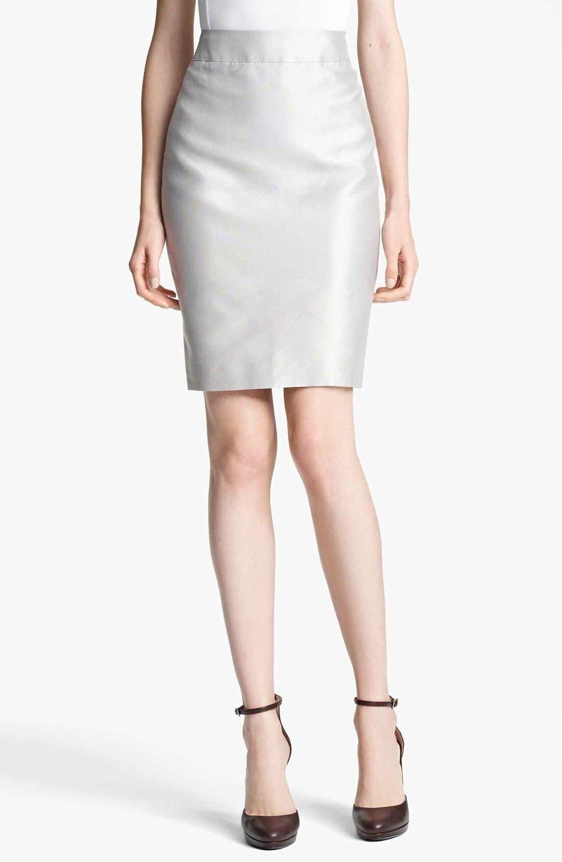 Main Image - Armani Collezioni Straight Taffeta Skirt