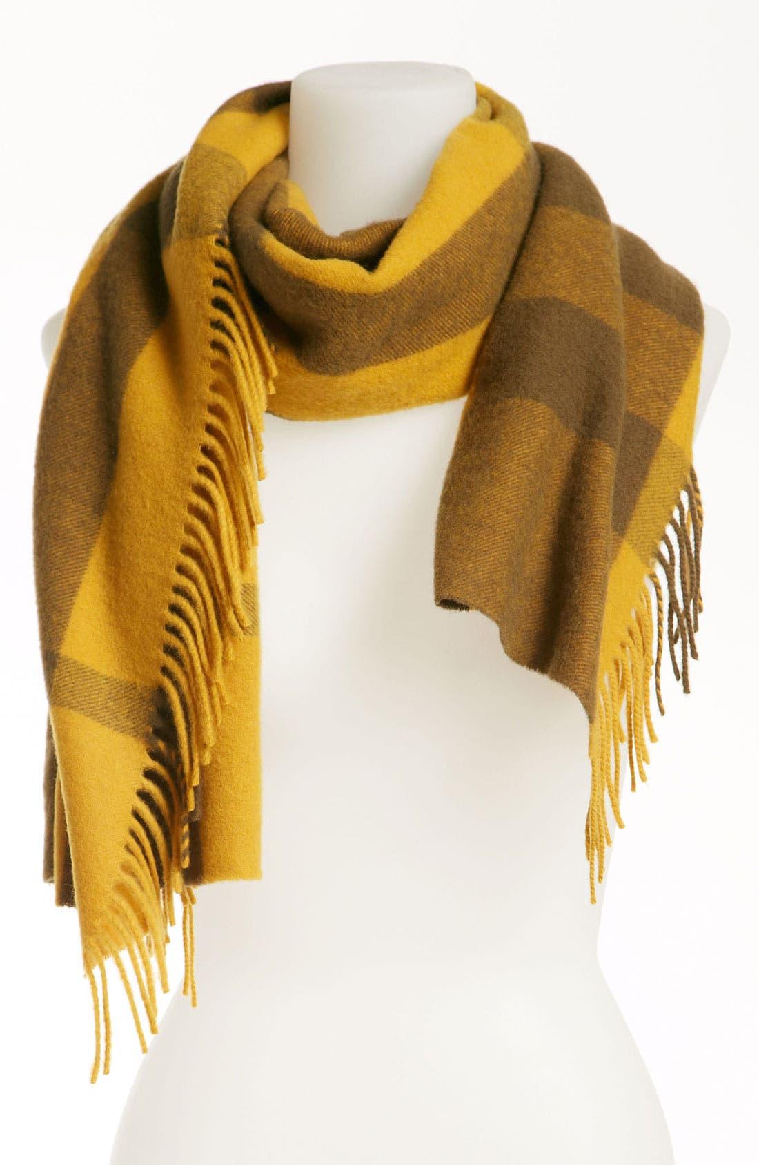 Main Image - Burberry Tonal Check Merino Wool & Cashmere Muffler