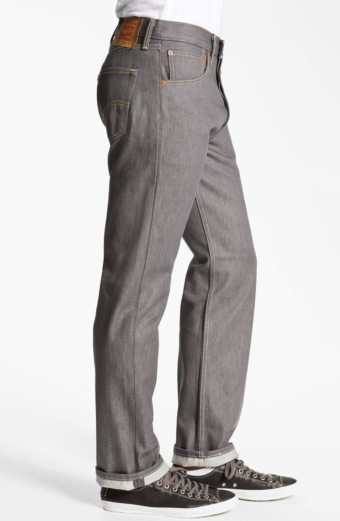 Alternate Image 3  - Levi's® Red Tab™ 501® Straight Leg Jeans (Grey Rigid) (Regular & Tall)