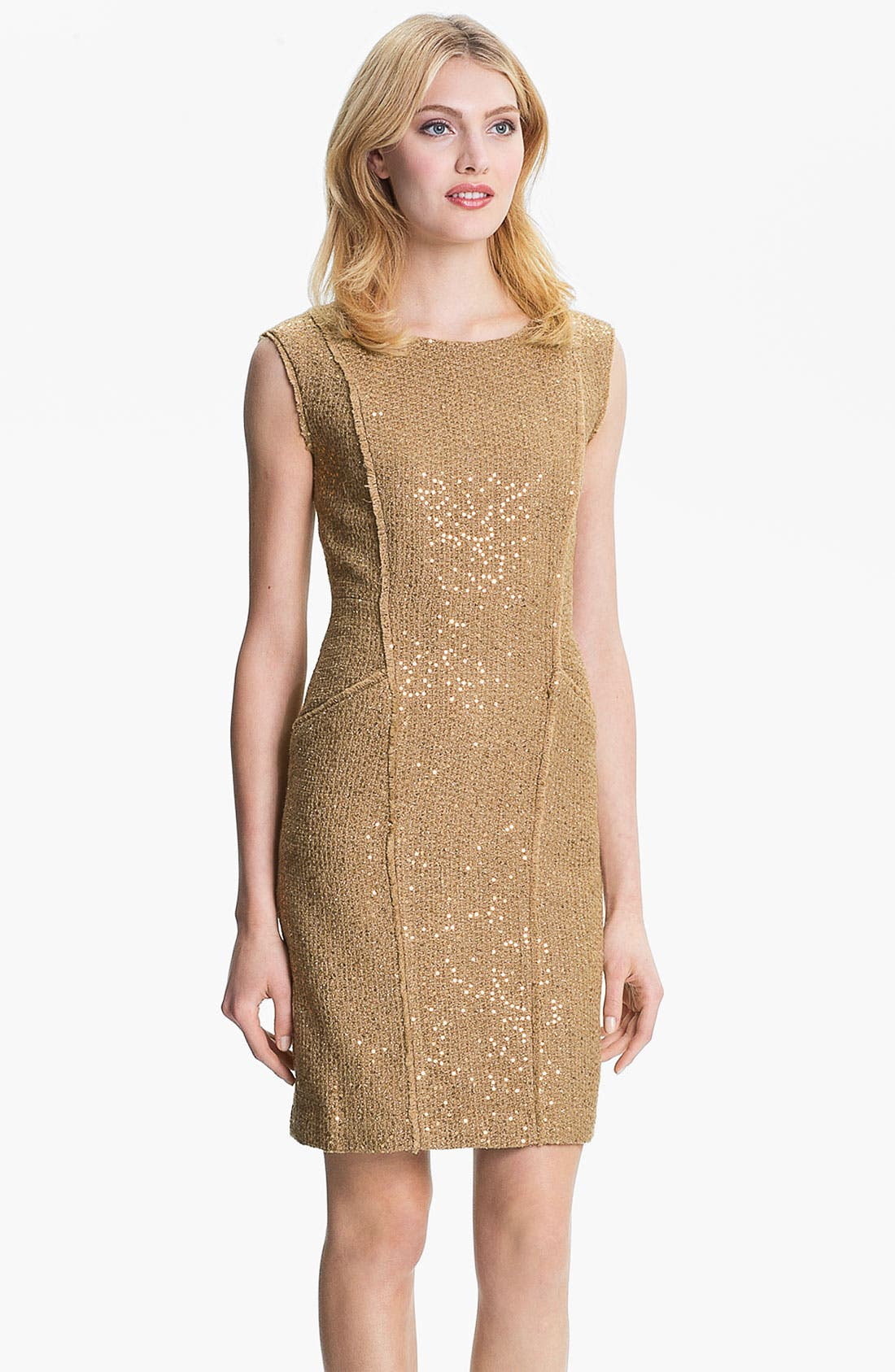 Alternate Image 1 Selected - MICHAEL Michael Kors Fray Edge Sheath Dress (Petite)