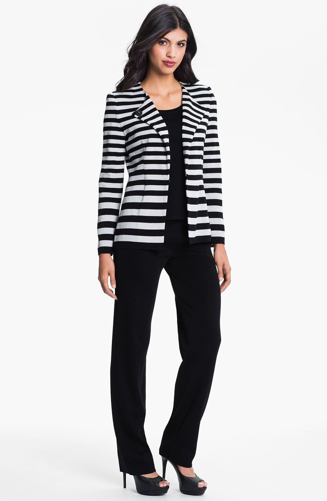 Alternate Image 4  - Exclusively Misook Stripe Knit Jacket