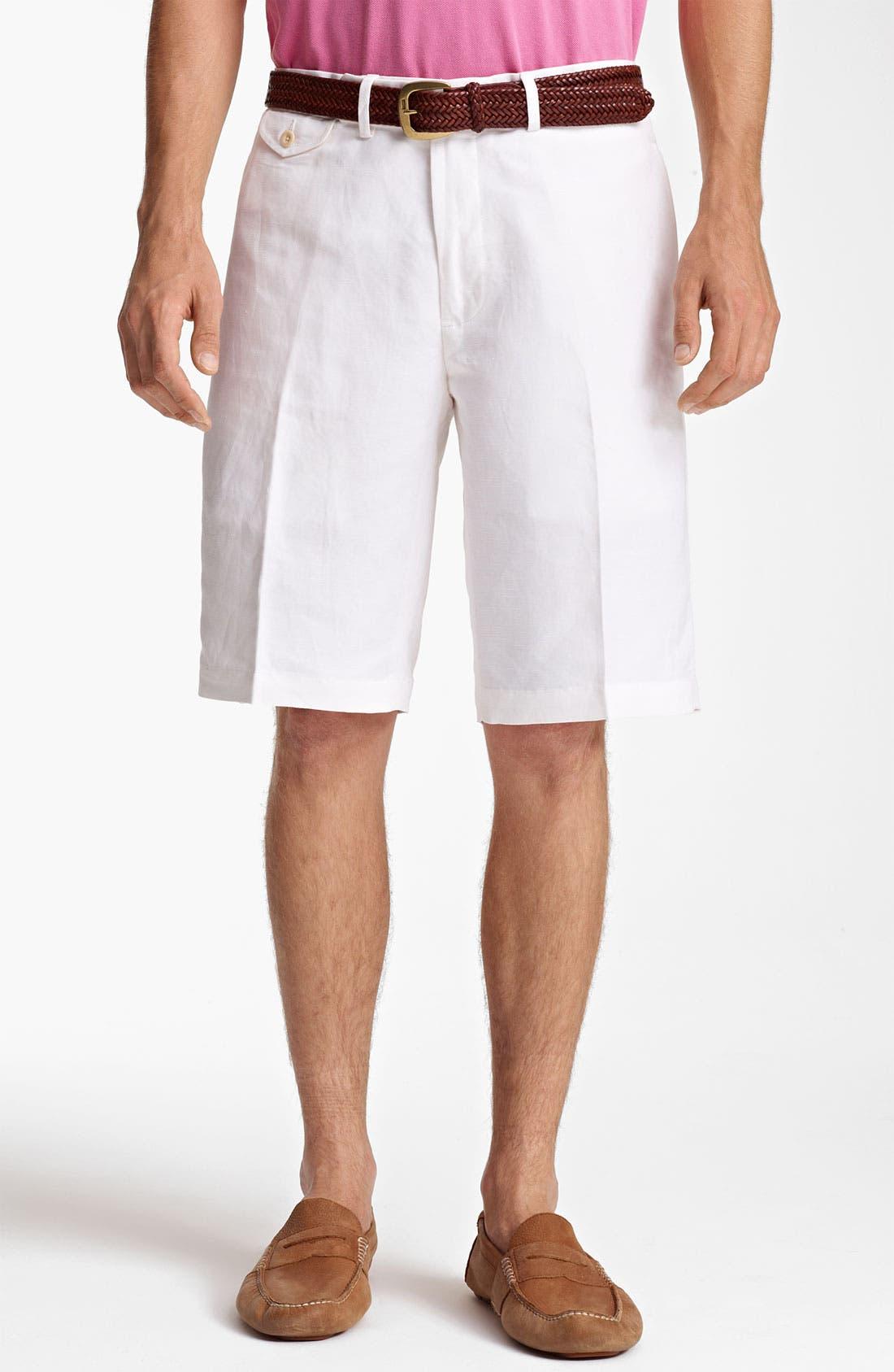 Main Image - Polo Ralph Lauren Flat Front Linen Blend Shorts