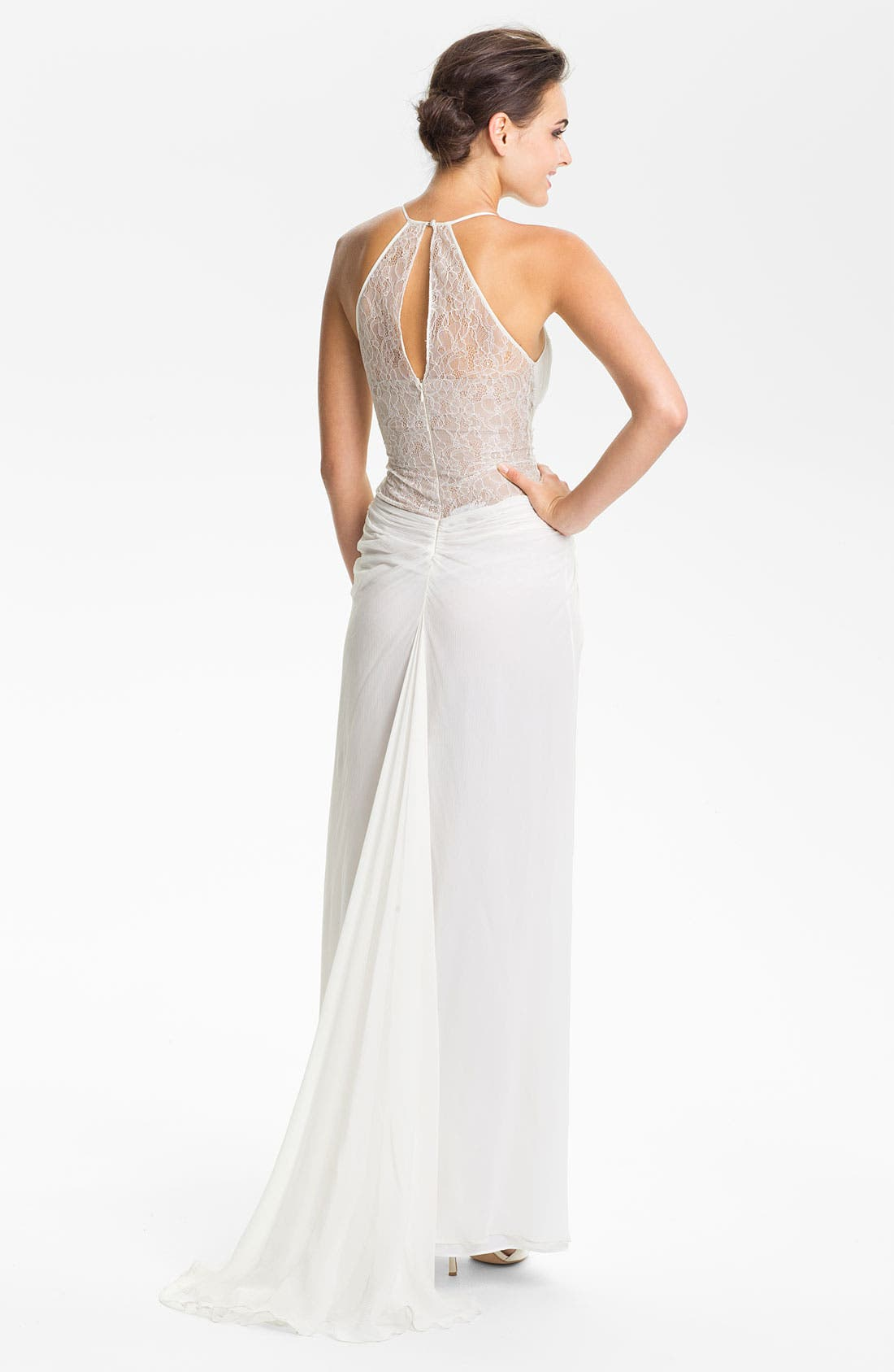 Alternate Image 2  - BCBGMAXAZRIA Lace Inset Knot Front Silk Chiffon Gown