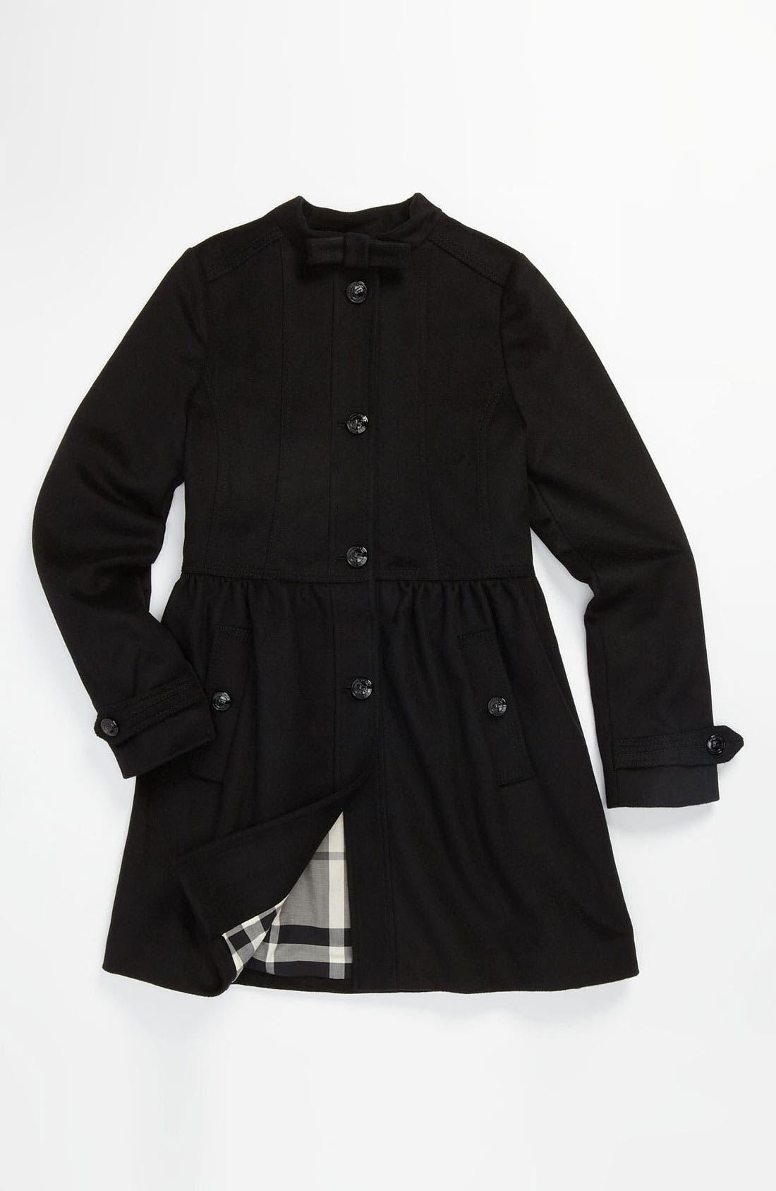 Main Image - Burberry Wool Blend Peacoat (Little Girls & Big Girls)