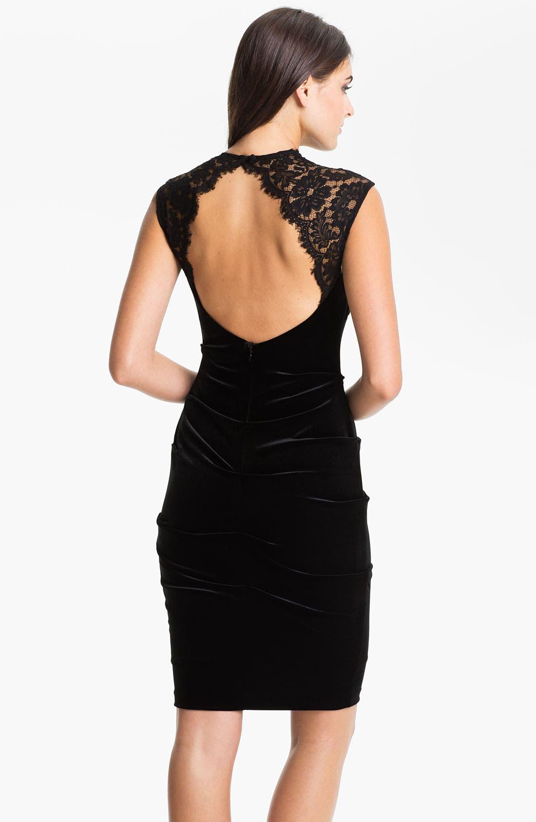 Alternate Image 2  - Xscape Lace Shoulder Ruched Velvet Sheath Dress