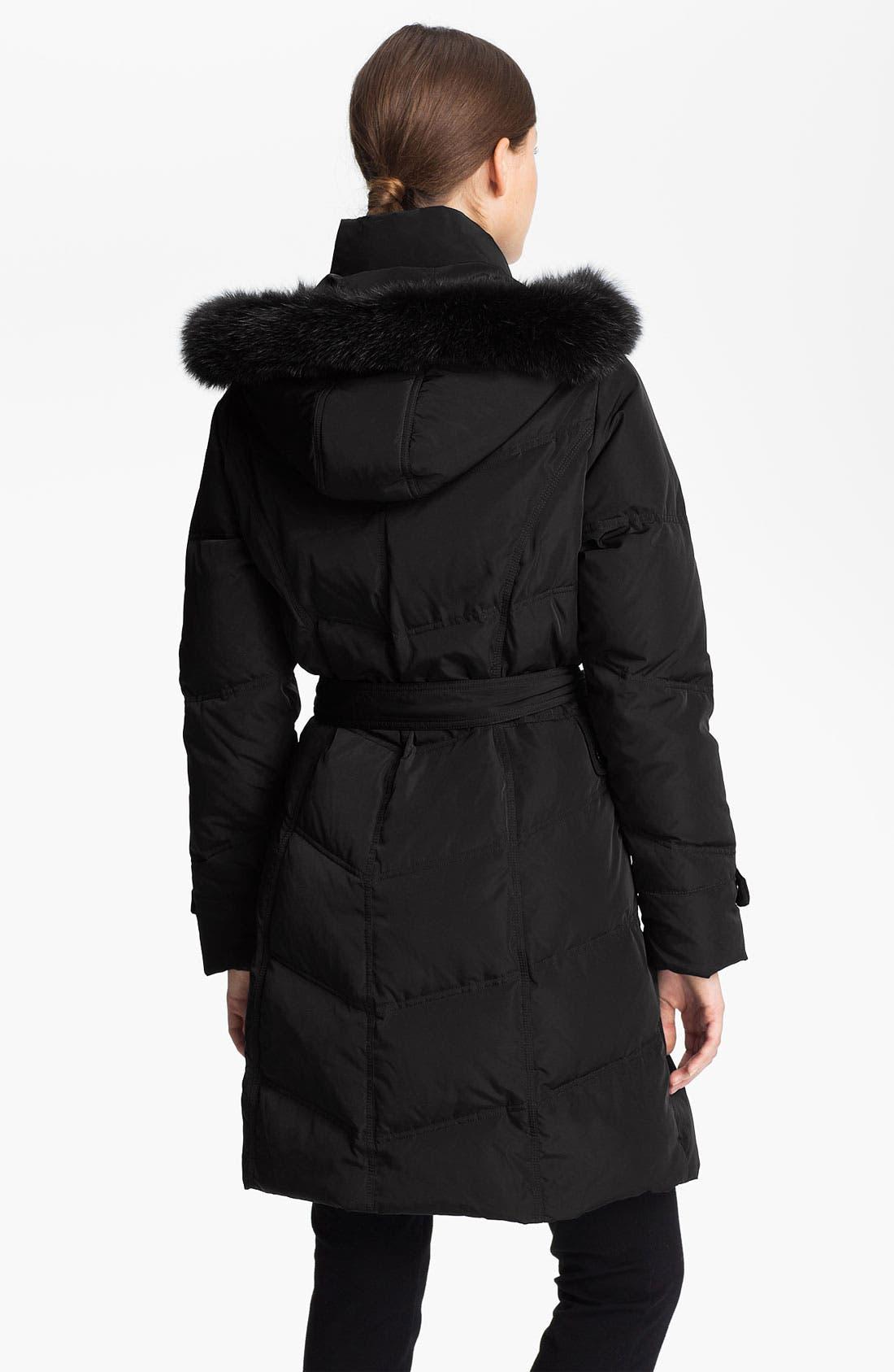 Alternate Image 2  - Sachi Genuine Fox Fur Trim Down Walking Coat