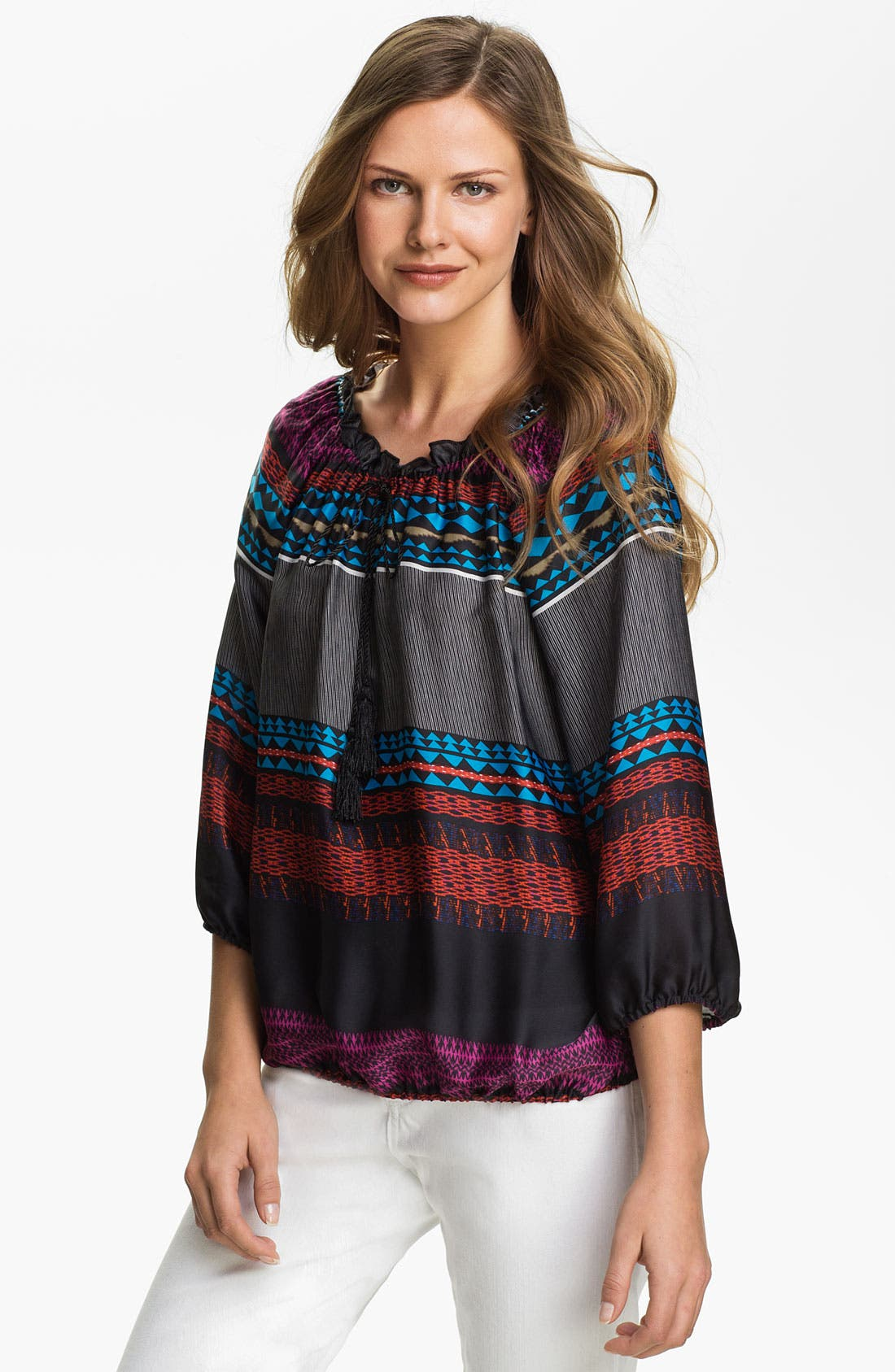 Alternate Image 1 Selected - August Silk Charmeuse Peasant Blouse