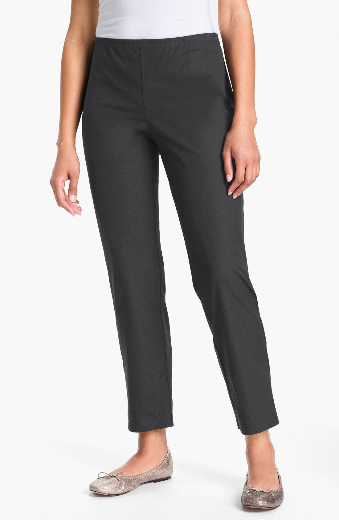 Alternate Image 1 Selected - Eileen Fisher Organic Stretch Cotton Twill Ankle Pants (Regular & Petite)