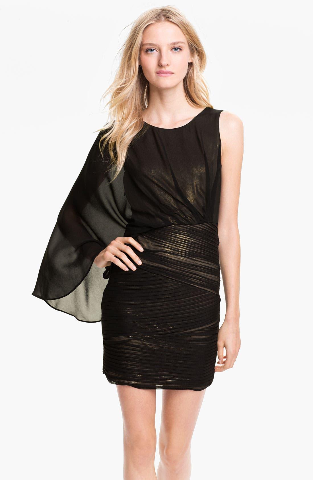 Main Image - BCBGMAXAZRIA One Shoulder Metallic Jersey & Chiffon Dress