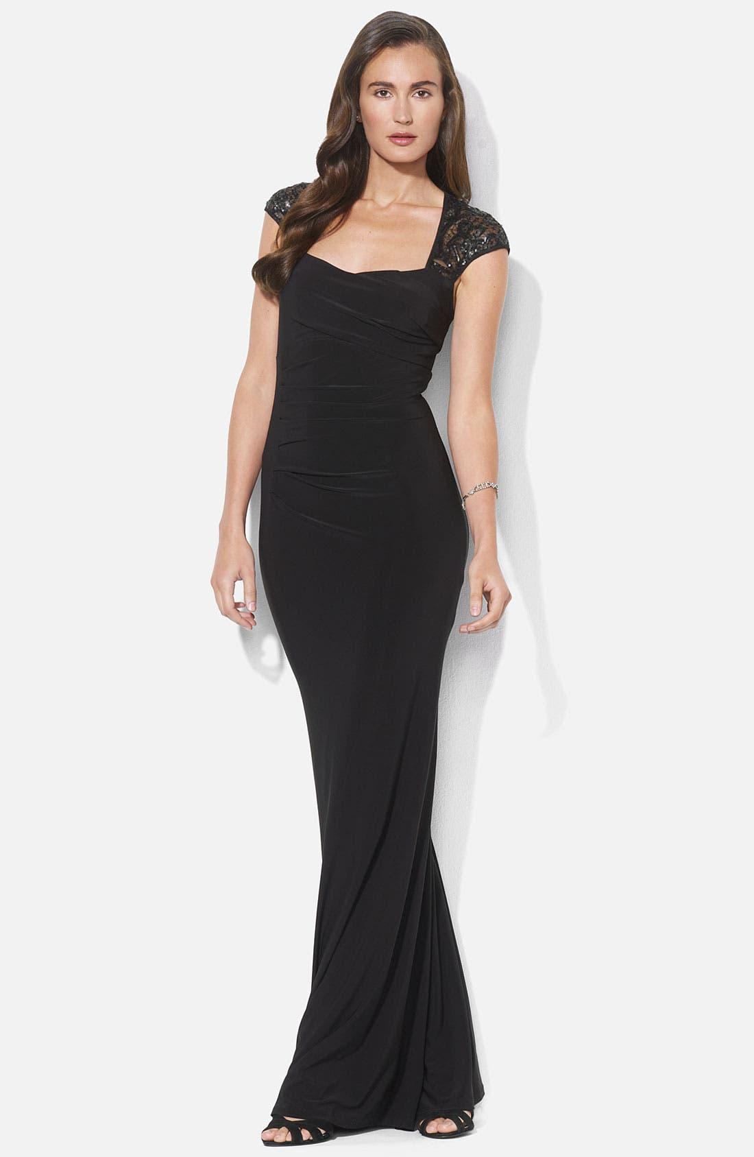 Main Image - Lauren Ralph Lauren Sequin Lace Sleeve Jersey Gown