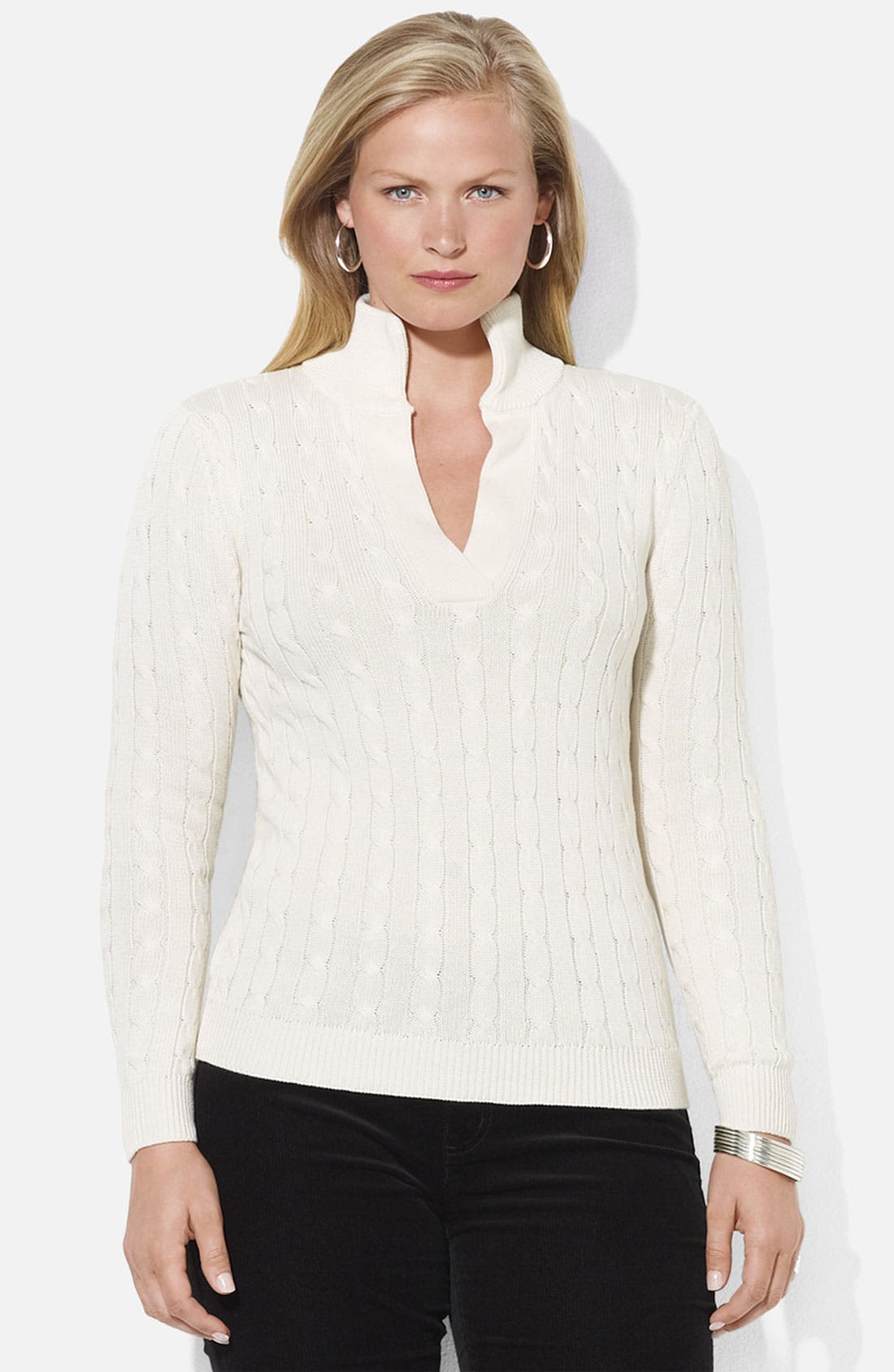 Main Image - Lauren Ralph Lauren Mock Neck Sweater (Plus)