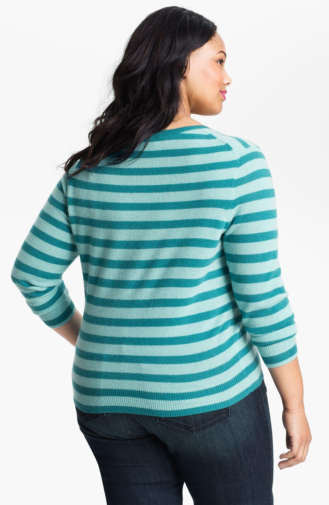 Alternate Image 2  - Halogen® Stripe Cashmere V-Neck Sweater (Plus)