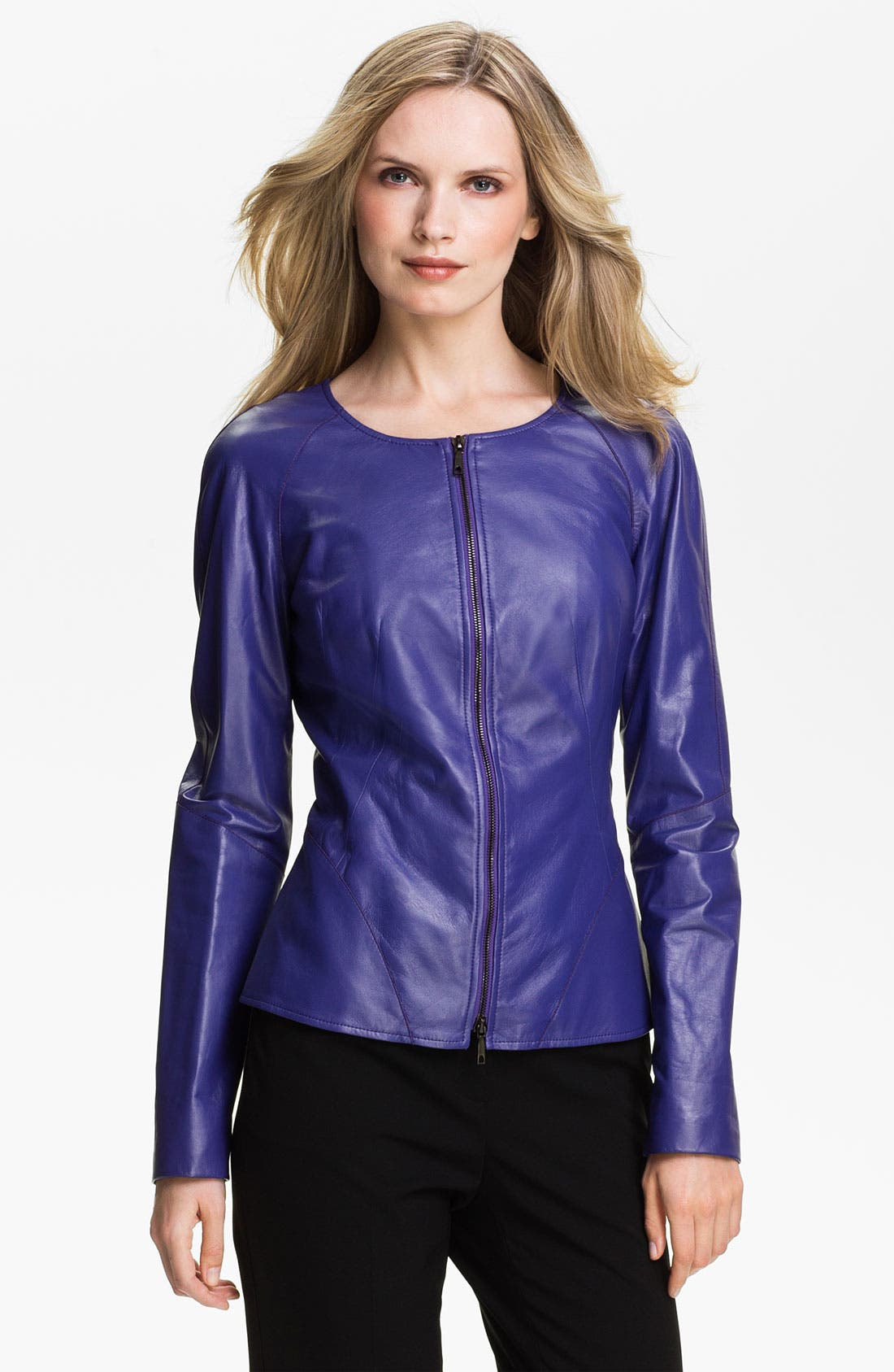 Main Image - Lafayette 148 New York Leather Moto Jacket