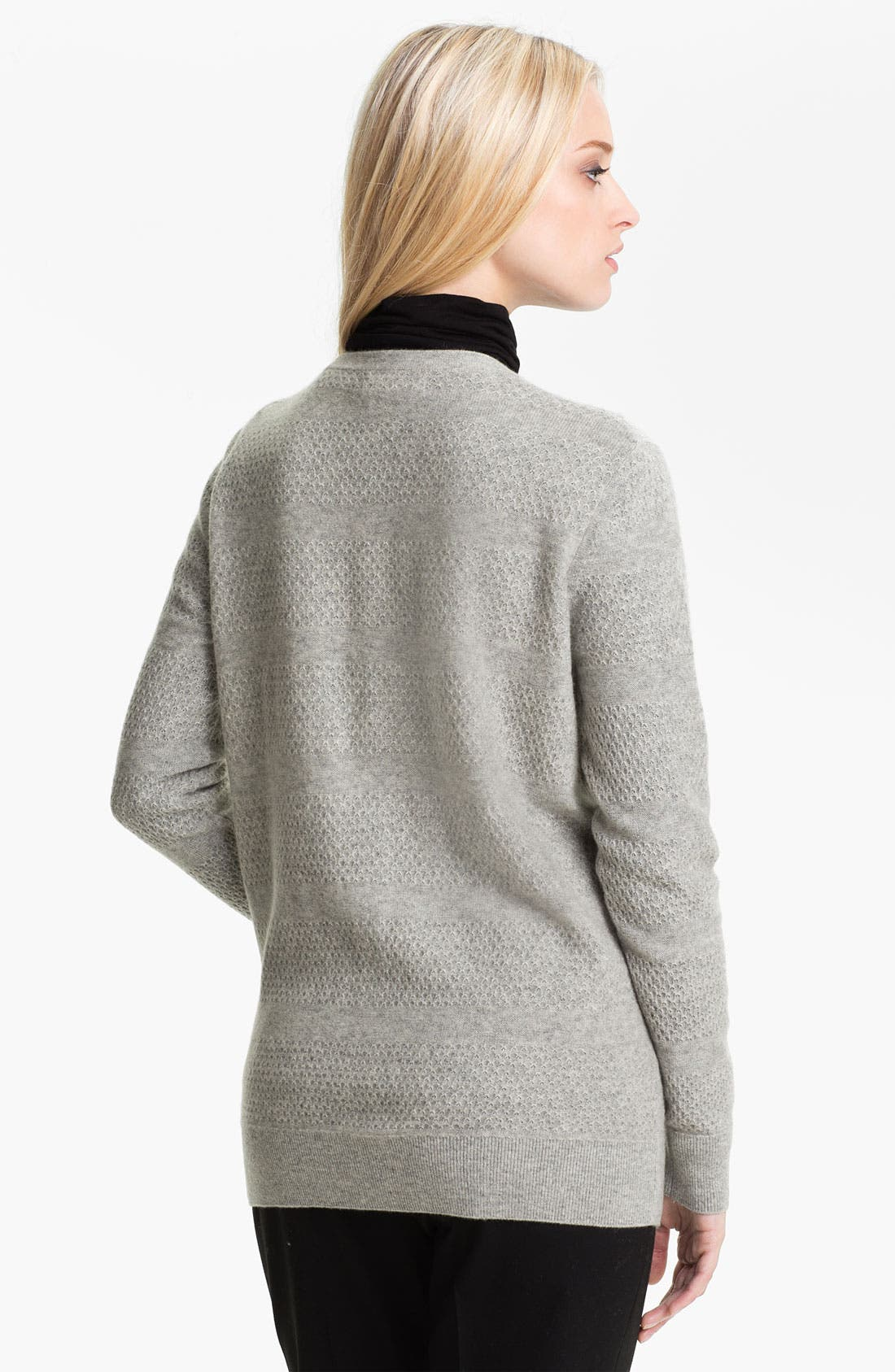 Alternate Image 2  - Nordstrom Collection Mix Knit Cashmere Cardigan