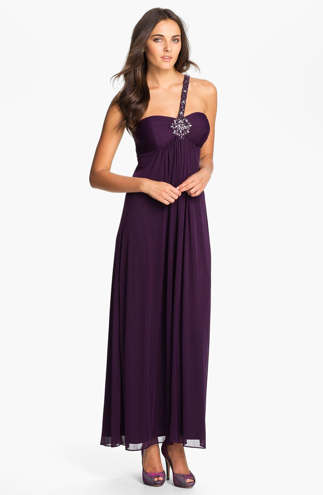 Main Image - Xscape Single Shoulder Strap Empire Waist Mesh Gown